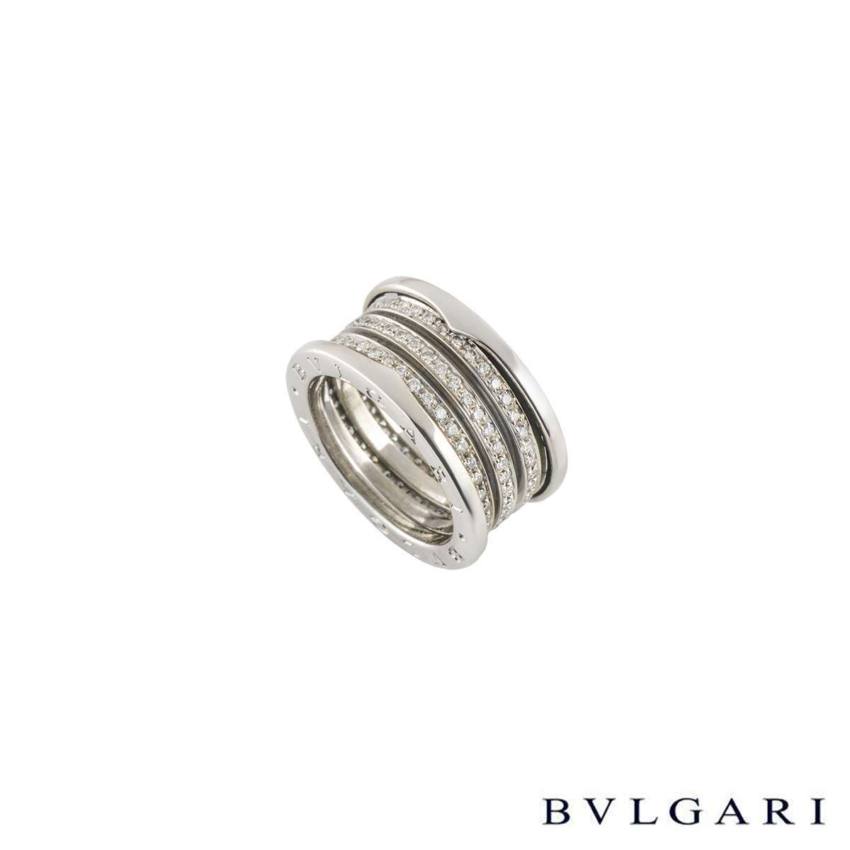 Bvlgari 18k White Gold Diamond Set B.Zero1 Ring AN85055